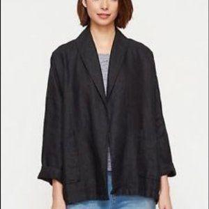 Eileen Fisher shawl collar jacket heavy linen blk